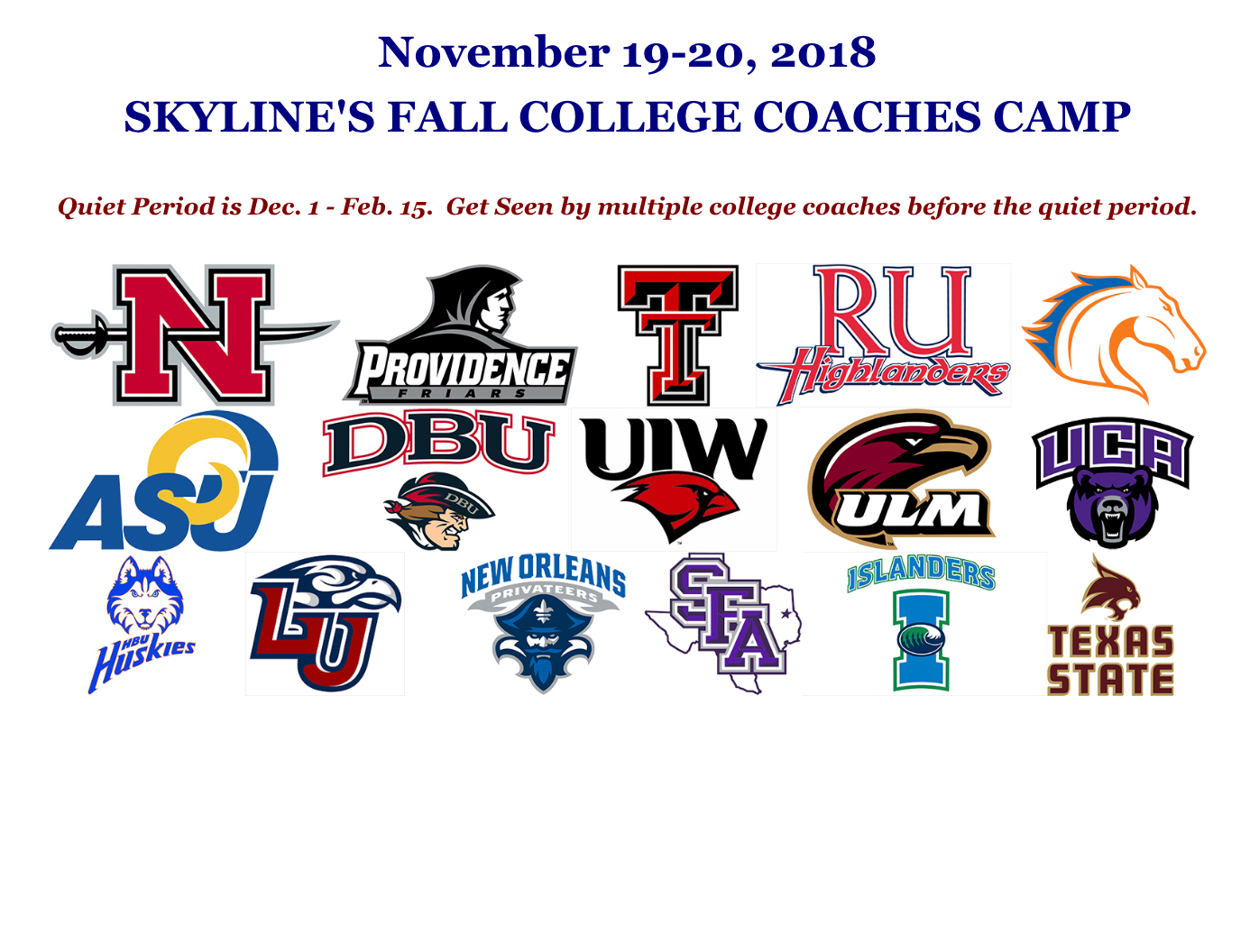 Skyline's Fall College Coaches Camp
